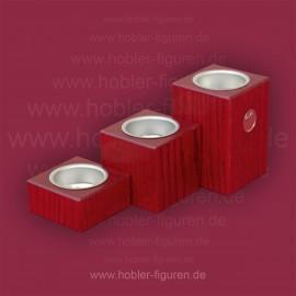 Drei Sockellichter (3 cm, 6 cm, 9 cm) mit Logo
